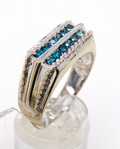 10ct White Gold Blue Diamond Ring