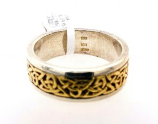 9ct Yellow Gold & Sterling Silver Aztec Ring