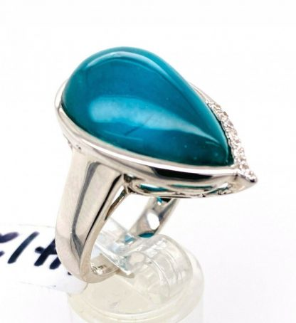 Sterling Silver Chalcedony & White Sapphire Ring