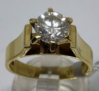 18ct Solid Yellow Gold 1.00ct Diamond Solitaire Ring