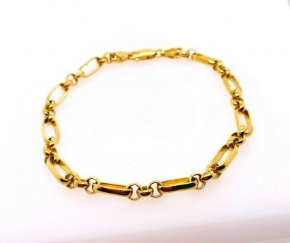 9ct Yellow Gold Chain Link Bracelet with Parrot Clasp