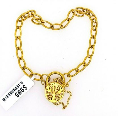 9ct Yellow Gold Bracelet with Locket & Safety Chain