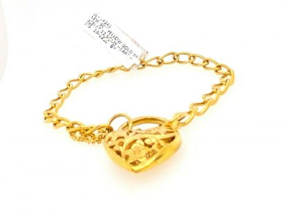 9ct Yellow Gold Bracelet with Heart Locket & Safety Chain