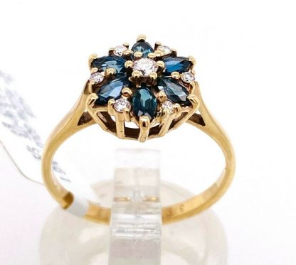 9ct Yellow Gold Diamond & Sapphire Ring