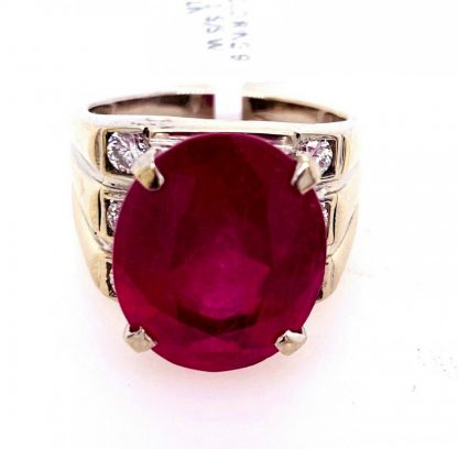 14ct White Gold Ruby & Diamond Ring with Valuation