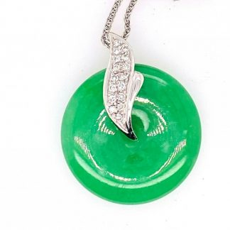18ct White Gold Jade & Diamond Necklace with Valuation