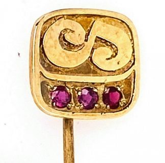 9ct Yellow Gold & Ruby Tie Pin/Brooch