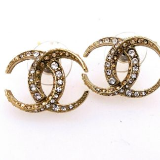 Chanel CC Mini Crystal Moon Stud Earrings