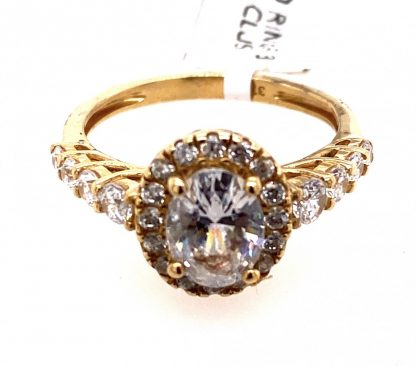 9ct Yellow Gold Cubic Zirconia Halo Ring