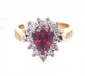 18ct Yellow Gold Ruby & Diamond Ring with Valuation