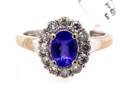 10ct White Gold Tanzanite & Diamond Ring