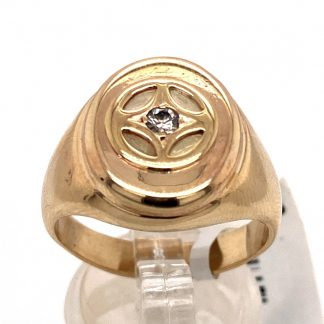 9ct Yellow Gold Diamond Solitaire Mens Ring