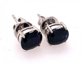 14ct White Gold Sapphire Stud Earrings