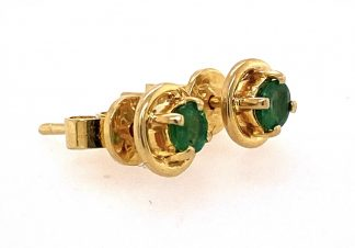 14ct Yellow Gold Emerald Stud Earrings