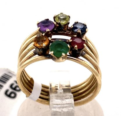 14ct Yellow Gold Multi Gemstone Cluster Design Ring
