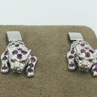 14ct White Gold Diamond & Ruby Panther Earrings