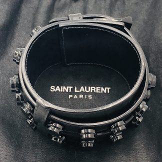 Saint Laurent Black Leather Stud Cuff Bracelet