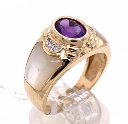 14ct Yellow Gold Amethyst, Mother of Pearl & Diamond Ring