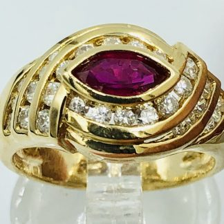 14ct Yellow Gold Ruby & 28 Diamond Ring