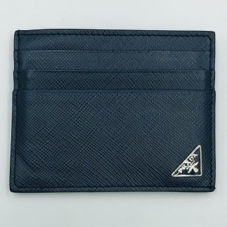 Prada Saffiano Blue Leather Card Holder