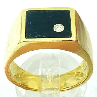 18ct Yellow Gold Black Onyx & Diamond Ring