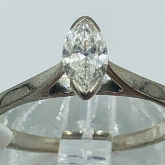 18ct White Gold Marquise Solitaire Ring