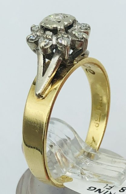 18ct Yellow Gold 9 Diamond Cluster Ring