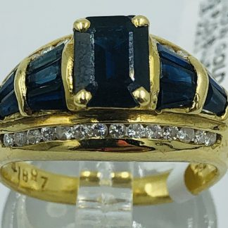 9ct Yellow Gold Blue Sapphire & Diamond Cluster Ring