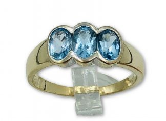 9ct Yellow Gold Blue Topaz Trio Ring