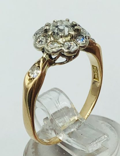 Vintage 18ct Yellow Gold Old Rose Cut Diamond Ring
