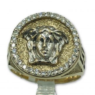 9ct Solid White Gold Versace Medusa Diamond Ring
