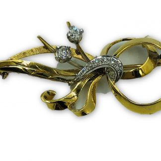 18ct Yellow Gold & Diamond Designer Brooch