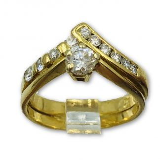 10ct Yellow Gold Diamond Cross Over Ring