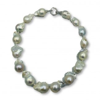 White Freshwater Baroque Pearl Necklace with Valuation