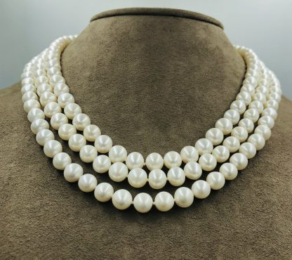 White Freshwater Pearl & Diamond Necklace