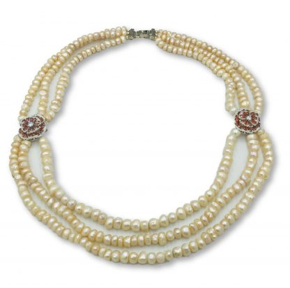 Apricot Freshwater Pearl 3 Strand Designer Necklace