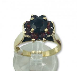 9ct Solid Yellow Gold Garnet Cluster Ring
