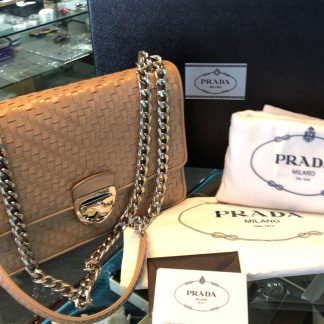 Prada Madras Woven Leather Chain Flap Bag