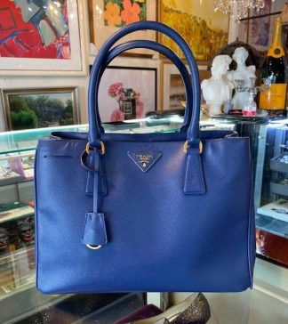 Prada Blue Saffiano Galleria Medium Handbag